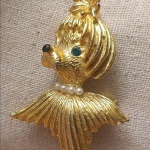 Vintage Dog Poodle Wig Gold Tone Brooch
